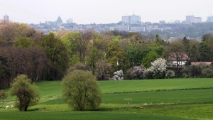 The skyline of Brussels is seen in the background, Monday, April 26, 2010. (AP Photo/Yves Logghe)