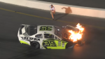 Dean Jones can be seen running towards the burning race car to save his son. (Memory Lane Video via Storyful)