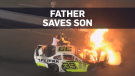 Father pulls son form burning car on Father's Day