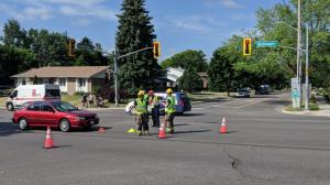 Police say an investigation is underway after a pedestrian was struck on Westmount Road in Kitchener. (Photo: Marta Czurylowicz)