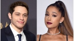 This combination photo shows comedian Pete Davidson at the 69th Primetime Emmy Awards in Los Angeles on Sept. 17, 2017, left, and singer Ariana Grande at the American Music Awards in Los Angeles on Nov. 20, 2016. (AP Photo)