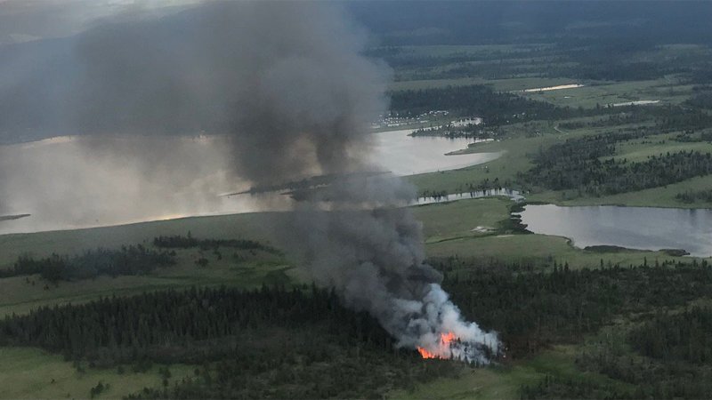 One of the 98 wildfires sparked Wednesday is a 20-hectare blaze burning about 28 kilometres southwest of Kamloops. (Twitter/BC Wildfire Service)
