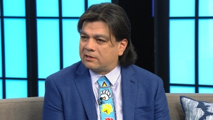 Duke Peltier, Ogimaa, or Chief, of Wiikwemkoong Unceded Territory, appears on CTV's Your Morning on Thursday.