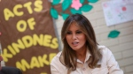 U.S. First lady Melania Trump visits the Upbring New Hope Children Center, run by the Lutheran Social Services of the South, in McAllen, Texas, Thursday, June 21, 2018. (AP Photo/Andrew Harnik)