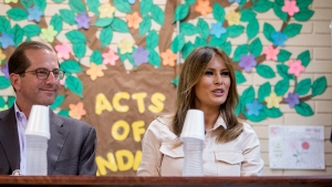 First lady Melania Trump, right, accompanied by Health and Human Services Secretary Alex Azar, left, speaks at a roundtable at the Upbring New Hope Children Center run by the Lutheran Social Services of the South in McAllen, Texas, Thursday, June 21, 2018. (AP / Andrew Harnik)