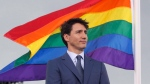 Prime Minister Justin Trudeau attends a pride flag raising ceremony on Parliament Hill in Ottawa on Wednesday, June 20, 2018. THE CANADIAN PRESS/ Patrick Doyle