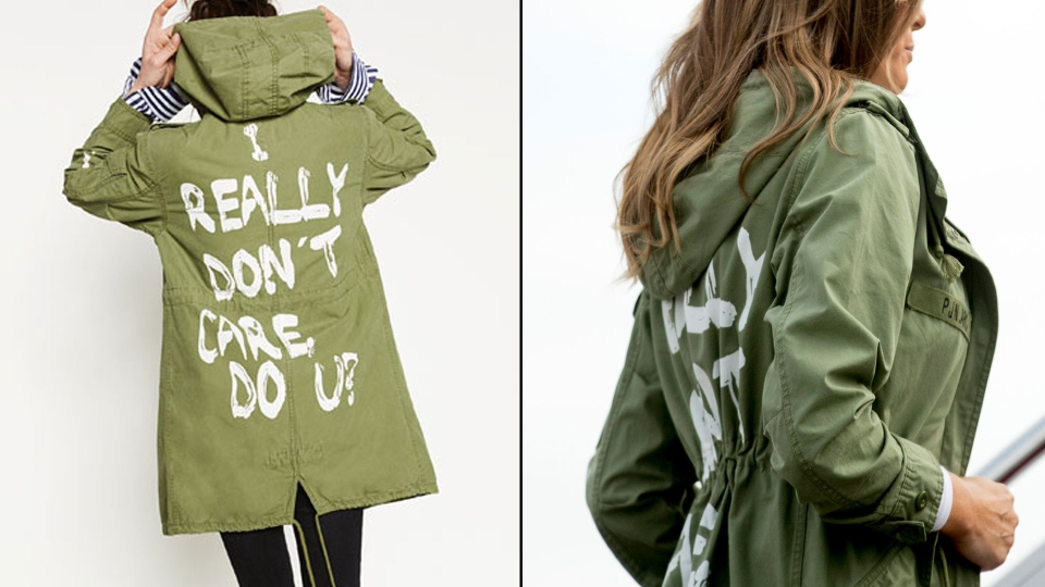 Melania Trump was seen wearing a green jacket from Zara (left) en route to visit migrant children separated from their families in Texas (right) on Thursday, June, 21, 2018. (Photo on right: AP/Andrew Harnik)