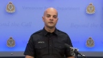 Vancouver Const. Jason Doucette speaks to reporters on June 21, 2018.