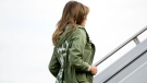U.S. first lady Melania Trump boards a plane at Andrews Air Force Base, Md., Thursday, June 21, 2018, to travel to Texas. (AP / Andrew Harnik)