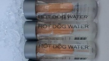 Bottles of Hot Dog Water being sold at an event in Vancouver last week are shown in a handout photo. (THE CANADIAN PRESS/HO-Douglas Bevans MANDATORY CREDIT)