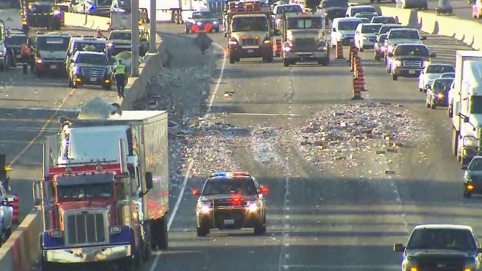 Yogurt spill closes lanes of Highway 401