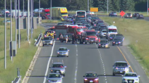 A collision involving two vehicles tied up traffic on the expressway on Thursday.