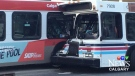 Two city transit buses crashed on 14 Street and 23 Avenue S.W. on June 22, 2018.