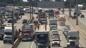 Yogurt snarls traffic on westbound Highway 401