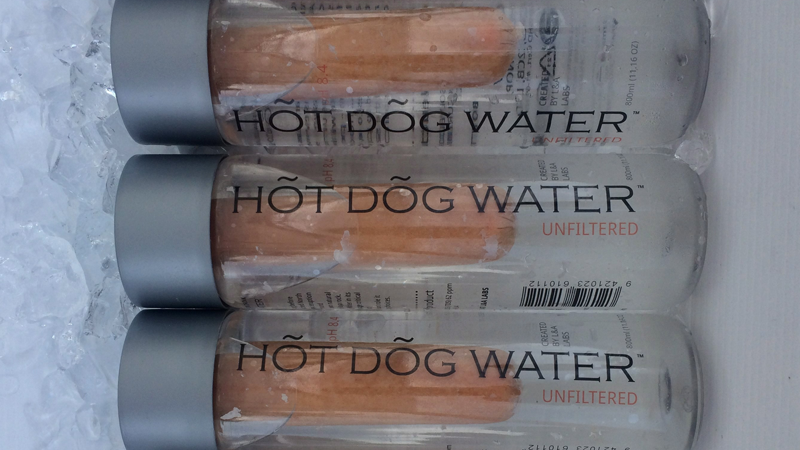Bottles of Hot Dog Water being sold at an event in Vancouver last week are shown in a handout photo. (THE CANADIAN PRESS/HO-Douglas Bevans)
