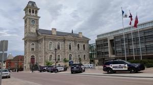 Police investigate an incident at Cambridge City Hall on Friday, June 22, 2018. (Marta Czurylowicz / CTV Kitchener)