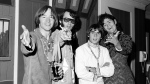 This July 6, 1967 file photo shows the musical group, The Monkees, from left, Peter Tork, Mike Nesmith, David Jones, and Micky Dolenz at a news conference at the Warwick Hotel in New York. (AP Photo/Ray Howard, file)