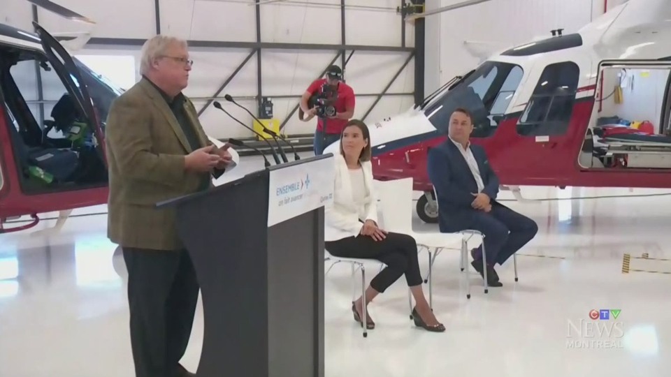 Health Minister Gaetan Barrette announced a new pilot project for air transport.
