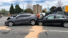 Two vehicles collide in the westbound collectors lanes of Highway 401. (Sgt. Kerry Schmidt)