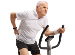 Man on an exercise bike with back pain