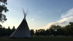 A tipi has been restored in front of the Sask. legislature (Creeson Agecoutay / CTV Regina)