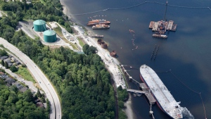 A aerial view of the Trans Mountain marine terminal, in Burnaby, B.C., is shown on Tuesday, May 29, 2018. (THE CANADIAN PRESS/Jonathan Hayward)