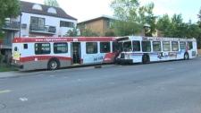 Pair of city buses crash in southwest Calgary