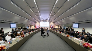 General view of a meeting of oil ministers of the Organization of the Petroleum Exporting Countries, OPEC, and non OPEC members at their headquarters in Vienna, Austria, Saturday, June 23, 2018. (AP Photo/Ronald Zak)
