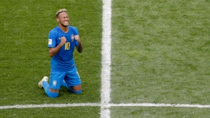 Brazil's Neymar reacts at the end of the group E match between Brazil and Costa Rica at the 2018 soccer World Cup in the St. Petersburg Stadium in St. Petersburg, Russia, Friday, June 22, 2018. (AP Photo/Michael Sohn)