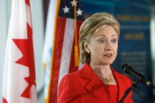 U.S. Secretary of State Hillary Rodham Clinton answers questions about the Iranian elections after a news conference in Niagara Falls, N.Y. on Saturday June 13, 2009. (AP / Robert Kirkham)