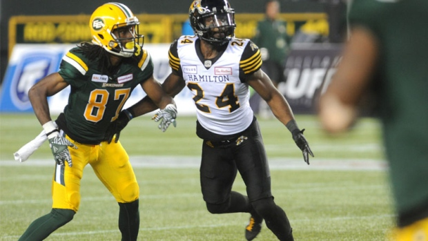 Edmonton Eskimos WR #87 Derel Walker in the 3rd quarter of CFL game action between the Edmonton Eskimo's and the Hamilton Tiger-Cats at Commonwealth stadium in Edmonton Friday, June 22, 2018. (CFL PHOTO - Walter Tychnowicz)
