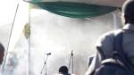 Smoke fills the stage following an explosion at a Zanu pf rally in Bulawayo, Saturday, June, 23, 2018. (AP Photo)