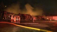 The north building of Balzac Meats, a meat processing facility south of Airdrie, was destroyed in a late night fire.