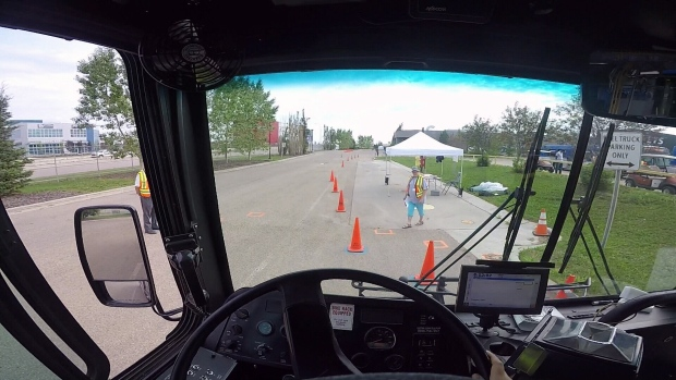 View from the cab of an ETS bus during the skills challenge
