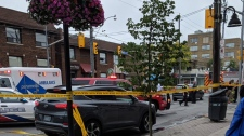 Emergency crews secured a stretch of Eglinton Avenue West and Castle Knock Road after an elderly man was struck by a vehicle. (Twitter/@StephanieMacas)