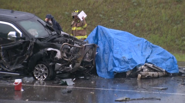 Officials say a driver was pronounced dead at the scene of a crash between Millarville and Priddis.