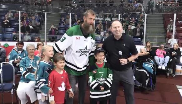Joe Thornton was on hand as the St. Thomas areana was re-named in his honour.