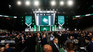 League and team officials attend the NHL hockey draft in Dallas, Friday, June 22, 2018. (AP Photo/Michael Ainsworth)