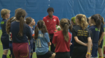 Olympic soccer bronze medalist Kadeisha Buchanan passed on lessons on and off the field to N.S. youth at a free clinic in Halifax.