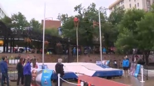 Olympic Plaza was turned into a mini track stadium on Saturday for the Calgary Track Takeover event.