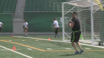 Flag Football players gathered at Mosaic Stadium for the first annual Queen City Blitz Flag Football Tournament on June 23, 2018.