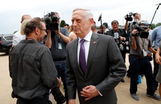 In this Wednesday, June 20, 2018, file photo, U.S. Defense Secretary Jim Mattis, center, steps away after speaking with the media at the Pentagon. (AP Photo/Alex Brandon, File)