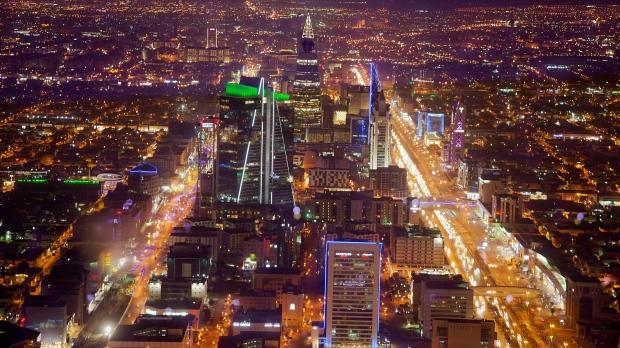 In this March 9, 2018 photo, general view showing Riyadh city taken from Mamlaka tower, a 99-story skyscraper, in Riyadh, Saudi Arabia. (AP Photo/Amr Nabil)