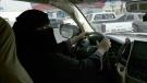 Mabkhoutah al-Mari drives to work for the first time in Riyadh, Saudi Arabia, Sunday, June 24, 2018. (AP Photo/Nariman El-Mofty)