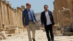 Prince William, left, and Jordan's Crown Prince Hussein tour the Jerash archaeological site in Jerash, northern Jordan, Monday, June 25, 2018. (AP Photo/Raad al-Adayleh)