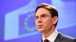 European Commission Vice-President Jyrki Tapani Katainen speaks during a media conference regarding steel tariffs at EU headquarters in Brussels on Friday, March 9, 2018. (AP Photo/Geert Vanden Wijngaert)