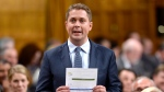 Conservative leader Andrew Scheer rises during Question Period in the House of Commons on Parliament Hill in Ottawa on Wednesday, June 20, 2018. THE CANADIAN PRESS/Justin Tang
