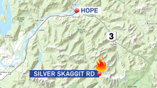 Wildfire burning southeast of Hope