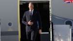 Britain's Prince William arrives on a Royal Air Force plane at the Ben Gurion airport in Tel Aviv, Israel, Monday, June 25, 2018. (AP Photo/Sebastian Scheiner)