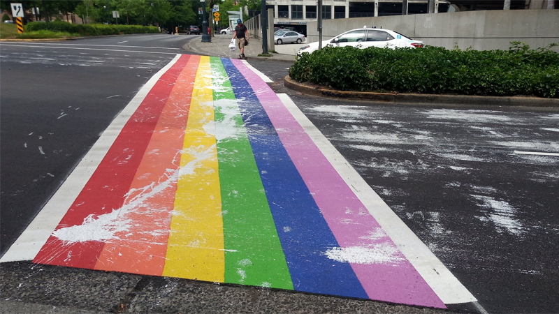 Rainbow crosswalk vandalized
